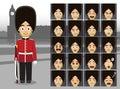English Traditional Guard Costume Cartoon Emotion faces Vector Illustration