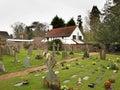 English Village Churchyard and Cottage Royalty Free Stock Photo