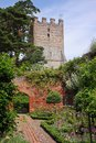 An English Walled Garden and Church Tower Royalty Free Stock Photo