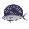 Engrave style vintage logo tuna fish and frame of store market etc Royalty Free Stock Photos