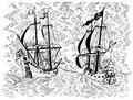 Engraved illustration with sea battle of pirate ship and trade vessel Royalty Free Stock Photo