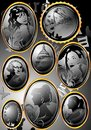 Engraved medallions vector image of with portraits and architecture Royalty Free Stock Photos