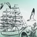 Engraved sea pattern with ship, shells and sea-gulls in old-fashioned style Royalty Free Stock Photo