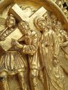 Engraving engraved biblical scene on a church door Royalty Free Stock Images