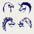 Engraving style animal heads design