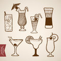 Engraving vintage hand drawn vector cocktail alcoh Royalty Free Stock Photo