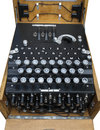 Enigma machine detail of german encryption showing patch board and keyboard Stock Image