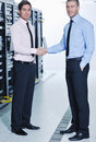 It enineers in network server room Stock Photo