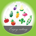 Enjoy eating vegetables set on green background Stock Photos