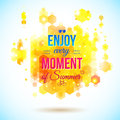 Enjoy every moment of summer positive and bright poster juicy colors geometric background hexagons background typography Royalty Free Stock Photography