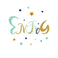 Enjoy - hand drawn positive motivation phrase in boho style with stars and doodle ornament. Cute cartoon lettering. Royalty Free Stock Photo