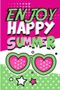 Enjoy Happy Summer banner, bright retro pop art style poster vector Illustration