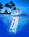 Enjoy life message in a bottle Royalty Free Stock Photo