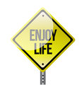 Enjoy life road sign illustration over a white background Stock Photos
