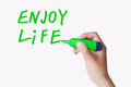 Enjoy life text written by green marker isolated on white Royalty Free Stock Images