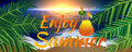 Enjoy summer banner style with elements of sunset, beach, ocean, palm leaves and cocktail glass Royalty Free Stock Photo