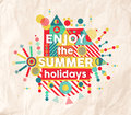 Enjoy summer fun quote poster design the holidays colorful typography inspiring hipster background ideal for travel and vacation Royalty Free Stock Photo