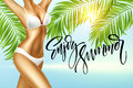 Enjoy the summer handwriting. Girl in bikini against the background of the sea and palm leaves. Vector illustration