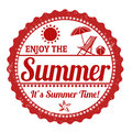 Enjoy the summer stamp grunge rubber on white vector illustration Stock Images