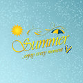 Enjoy summer. Vector background with umbrella, sun, water and beach slippers. Royalty Free Stock Photo