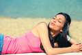 Enjoy in sun young woman on beach summer day Royalty Free Stock Images