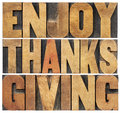 Enjoy thanksgiving isolated text in vintage letterpress wood type blocks scaled to a rectangle shape Stock Photos