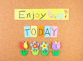 Enjoy today conceptual words decoration cork Royalty Free Stock Photography