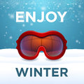 Enjoy winter outside red ski goggles cluse up and snow Royalty Free Stock Photography
