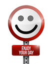 Enjoy your day road sign illustration design over a white background Royalty Free Stock Photo