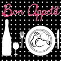 Enjoy your food typographic poster design with black and white and drink on the table Stock Photography