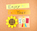 Enjoy your job conceptual words decoration cork Stock Photo