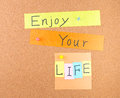 Enjoy your life conceptual words decoration cork Royalty Free Stock Photo