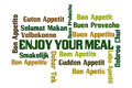 Enjoy your meal word cloud on white background Stock Images