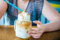 Enjoying cold coffee Royalty Free Stock Photo