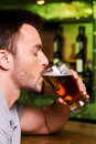Enjoying cold and fresh beer side view of young man drinking while sitting at the bar counter Stock Photography
