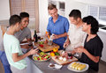 Enjoying good food and great friends Royalty Free Stock Photo