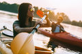 Enjoying great time on river. Royalty Free Stock Photo