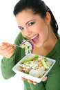 Enjoying Healthy Salad Stock Images