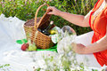 Enjoying lunch, picnic outdoors Stock Photo
