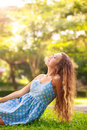 Enjoying nature sunset free happy woman Stock Photo