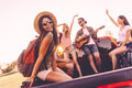 Enjoying road trip with best friends. Royalty Free Stock Photo