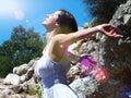 Enjoying in sun beautiful woman the and nature photography Stock Photos