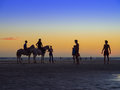 Enjoying the sunset people at main beach jericoacoara national park state of ceara brazil Stock Photos