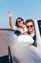 Enjoying their road trip. Royalty Free Stock Photo