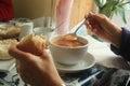 Enjoying Tomato Soup, St. Andrews, Scotland, UK. Royalty Free Stock Photo