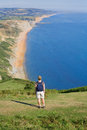Enjoying view of Dorset coast Stock Photos