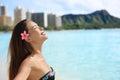 Enjoyment beach woman on waikiki oahu hawaii in bikini usa girl travel vacation holidays relaxing serene having fun hawaiian Stock Photos