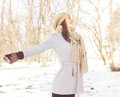 Enjoyment happy lovely relaxing young woman enjoying winter portrait at beautiful sunny day in the park caucasian carefree Royalty Free Stock Photography