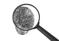 Enlarged fingerprint magnifying glass with Royalty Free Stock Image