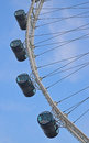 Enlarged view of the passenger capsules of singapore flyer with clear blue sky in background air conditioned Royalty Free Stock Images